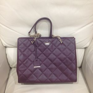Kate Spade Burgundy Plum Quilted Satchel Purse Bag